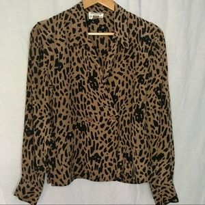 Vintage ~ 💯% silk leopard double breasted blouse